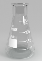 Frasco Erlenmeyer Boca Larga Graduado Cap. 250ml Uniglas