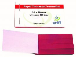 Papel de Tornassol Vermelho - 100 tiras/ cx. Unifil