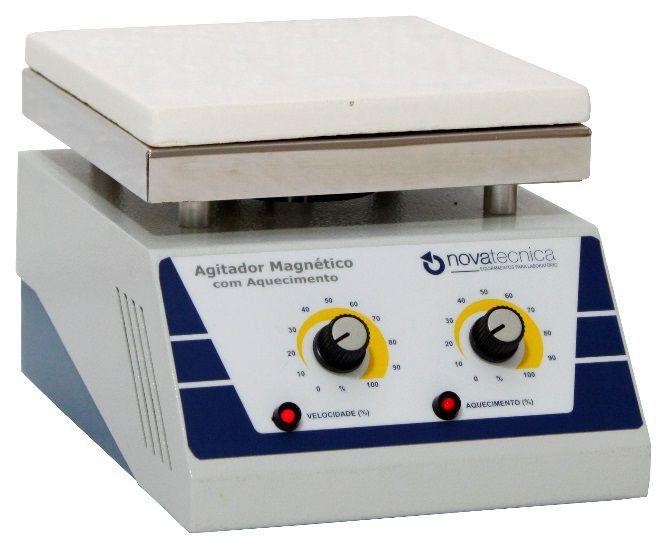 Agitador Magnético com Aquecimento Plataforma de Cerâmica Novatecnica FR