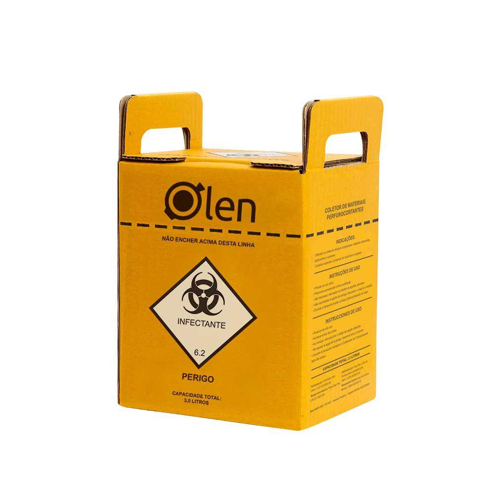 Caixa Coletora de Perfurocortantes 3 litros 20 und./cx Olen