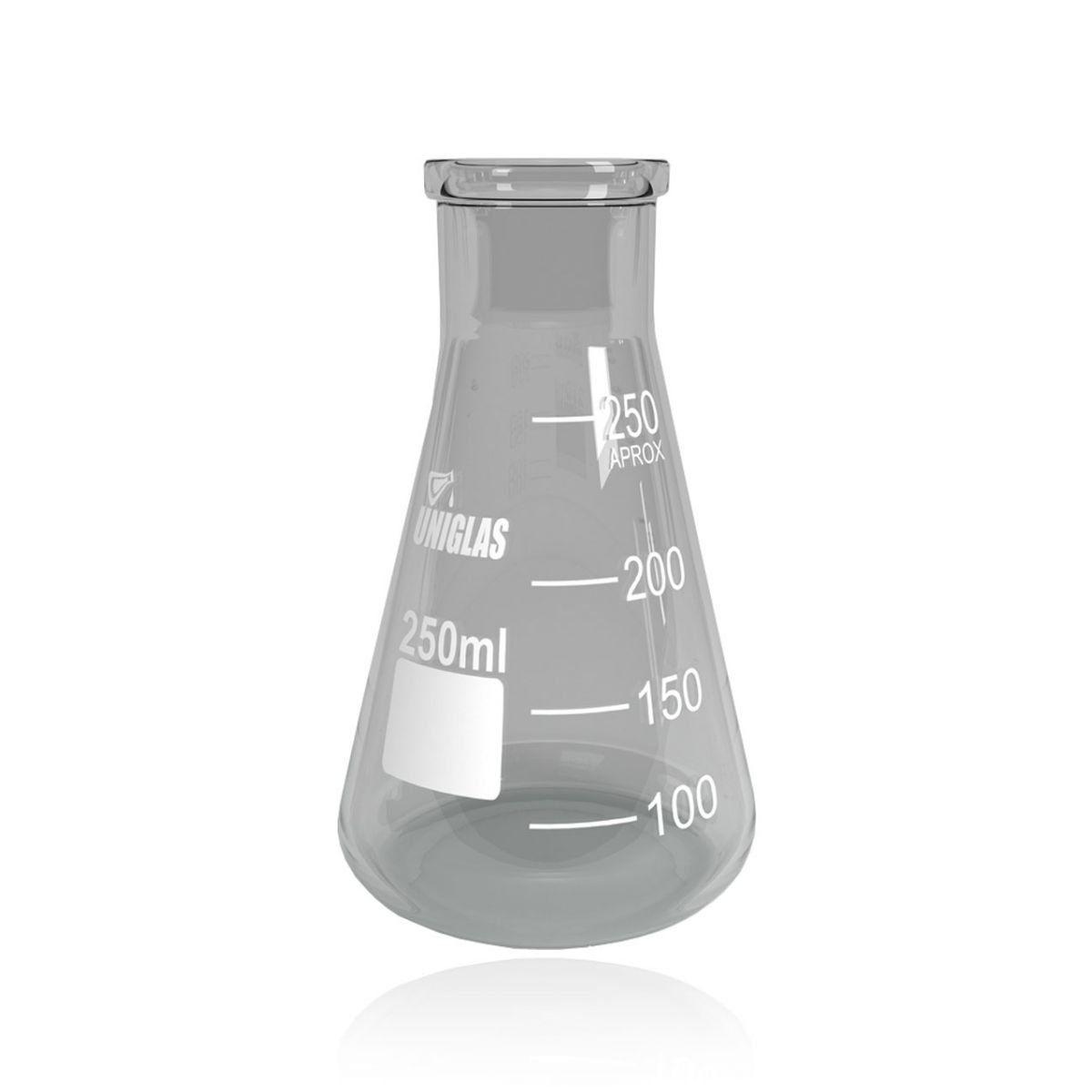 Frasco Erlenmeyer Boca Larga capacidade 500 ml - 8 und./ cx. Uniglas