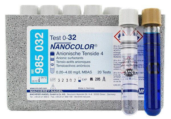 Kit Nanocolor Surfactantes Anionicos 4 0,20 - 4,00 MG/L MBAS P20T Marca MN