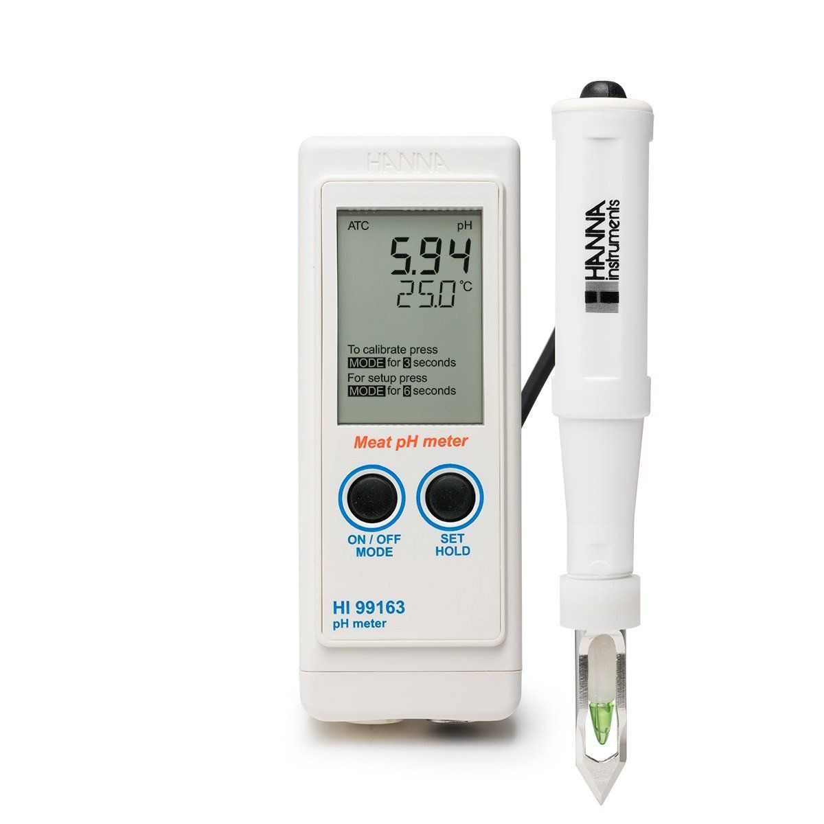 Medidor Portátil de pH e Temperatura para Carne Hanna