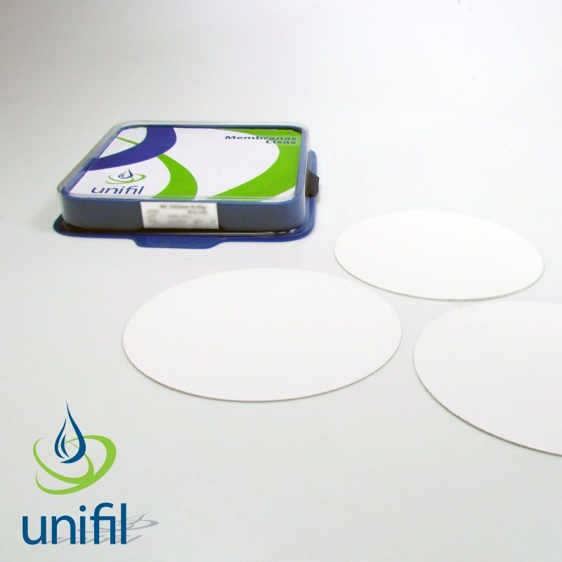Membrana de Filtração Nit. Celulose Preta Quad. 0,80um 47mm/ diam. Estéril, Emb. Indiv. com Pad - 100 und./ pct.  Unifil