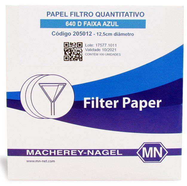 Papel Filtro Quantitativo  640 D (Faixa Azul) 110 mm/ diam. - 100 und./ cx. Macherey-Nagel (MN)
