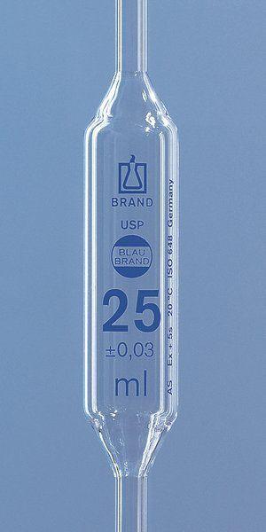 Pipeta volumétrica 20ml brand classe a com certificado de lote usp, esgotamento total.
