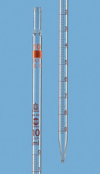 Pipeta sorológica 5,0ml brand classe a com certificado de lote usp, esgotamento total, gravação eterna.