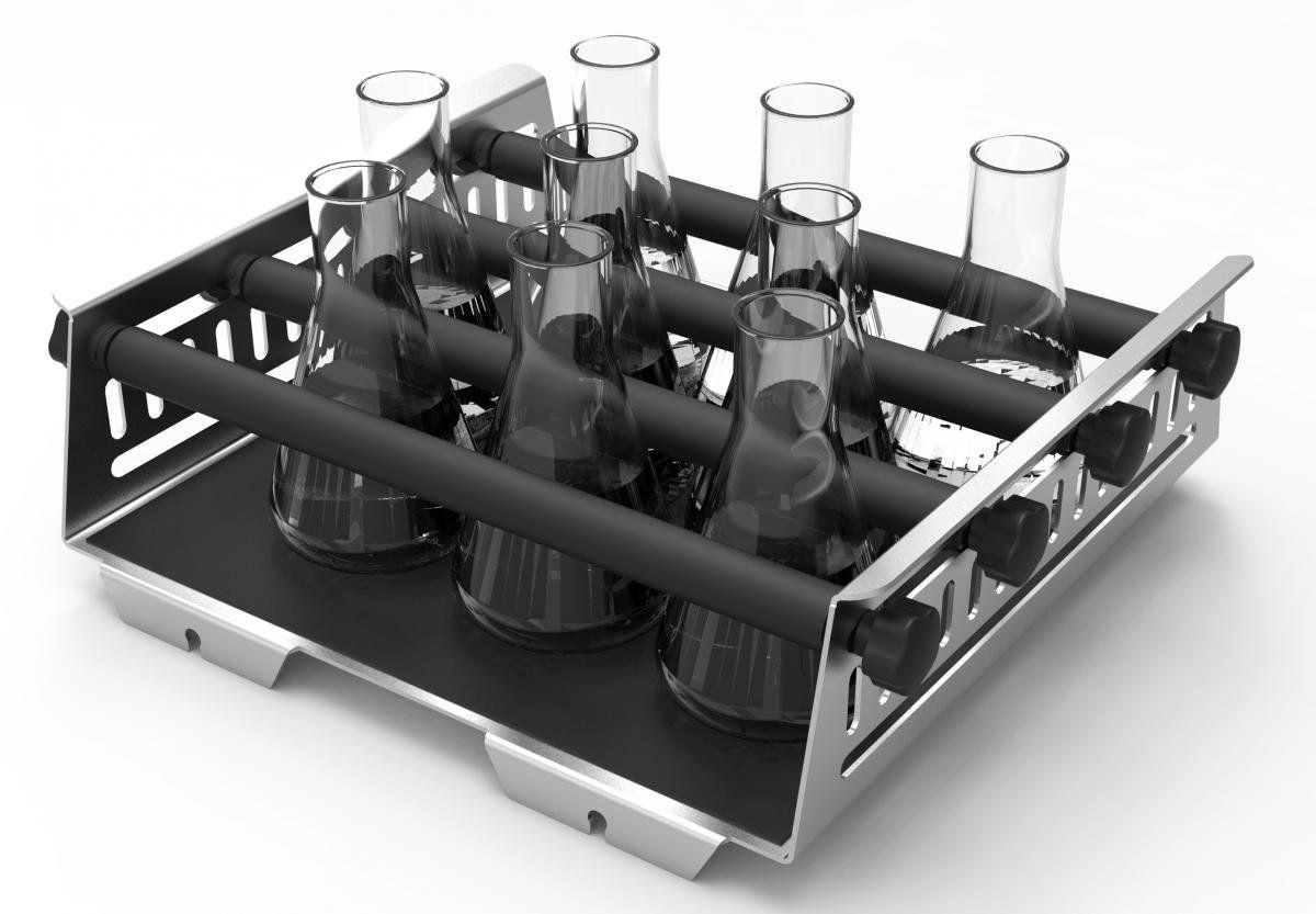 Plataforma Universal com Barras Ajustáveis - Capacidade de Frascos de 9 x 250 ml ou 6 x 500 ml Capp