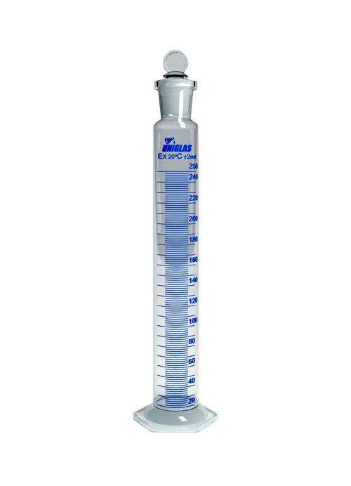 Proveta graduada base sext. vidro, uniglas 1000ml, rolha em vidro., cx 12 unidades.