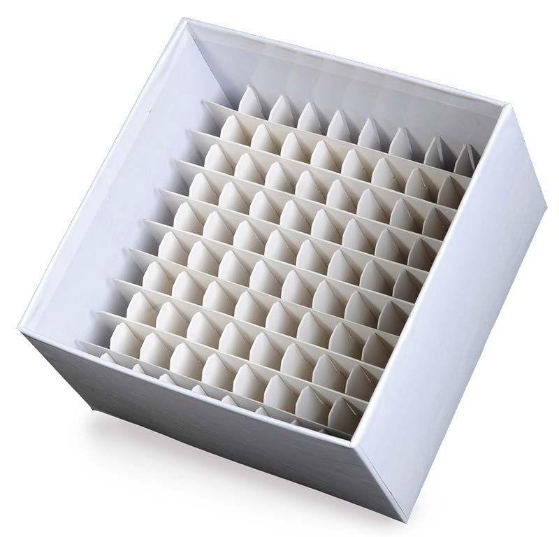 Rack de Fibra de Papelão para Microtubos de 1,5ml - 2ml - Divisão 10 x 10 - 1 und. Kasvi