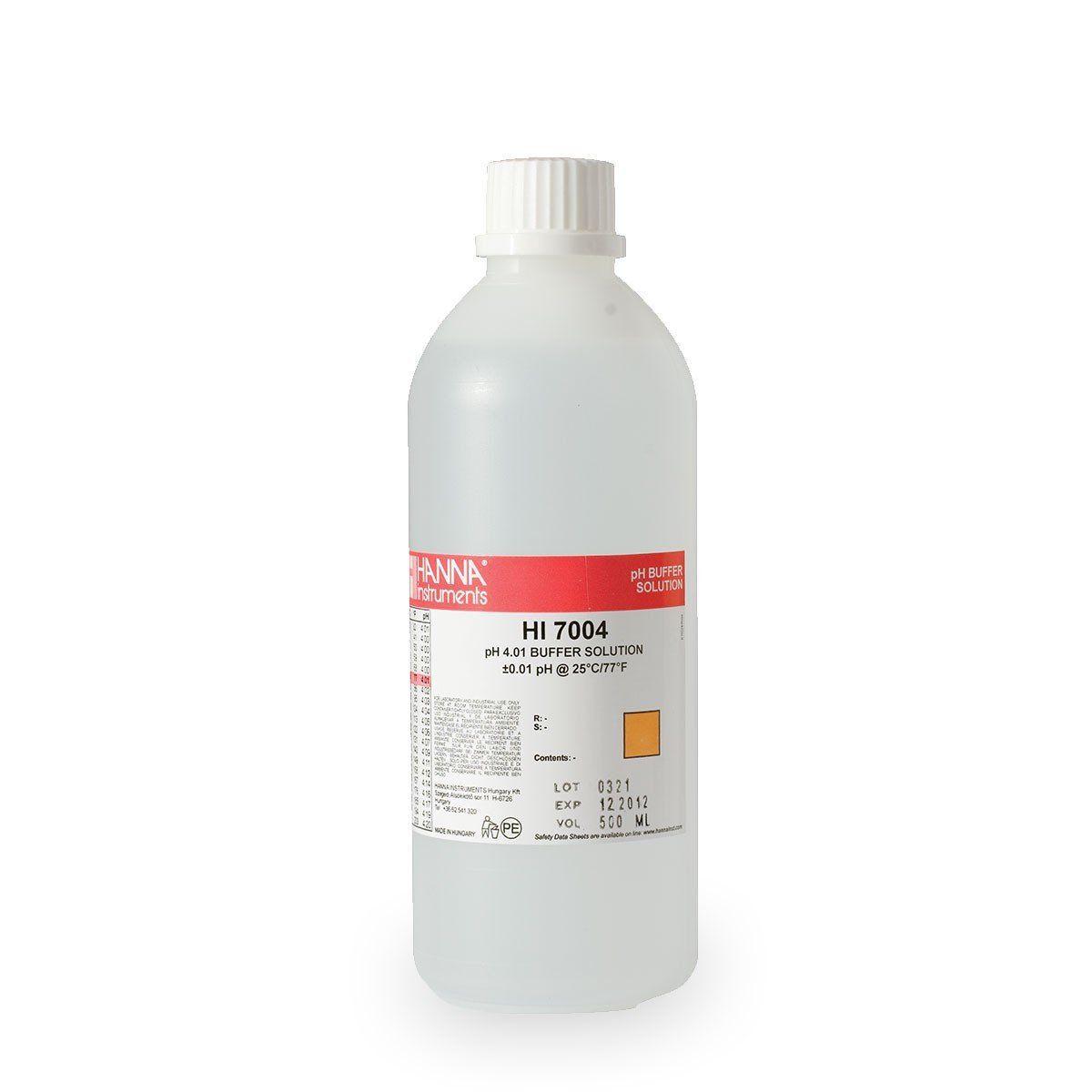 Solução de Calibração pH 4.01 com Certificado de Análise - Frasco 500 ml Hanna