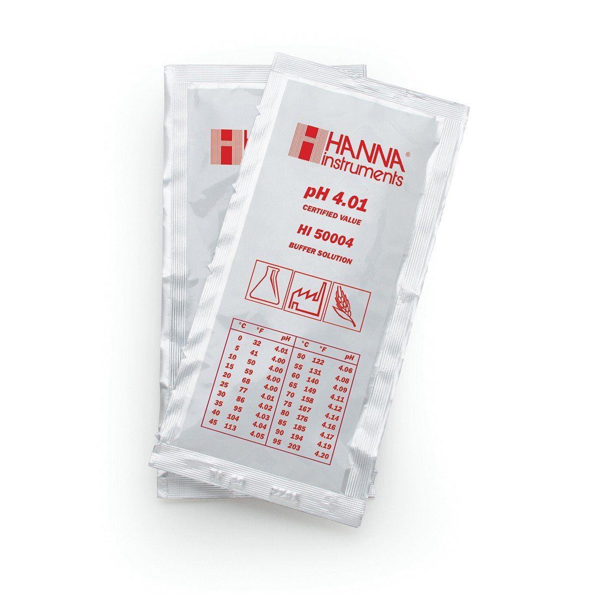 Solução Tampão de Calibração pH 4.01 - 25 pacotes com 20ml cada Hanna