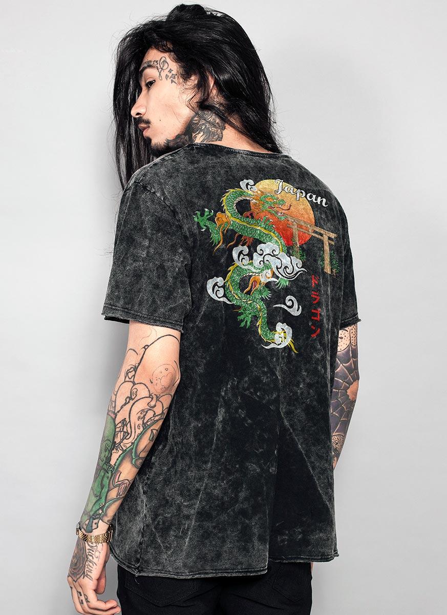 T-shirt Marmorizada Dragão Japonês