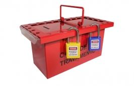 Caixa de Bloqueio de Metal Vermelho para 26 Cadeados CBA26 - TAGOUT