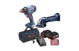 Esmerilhadeira 18V GWS 18-125V-LI + Chave de Impacto 18V GDX 180-LI + kit baterias e bolsa - Bosch