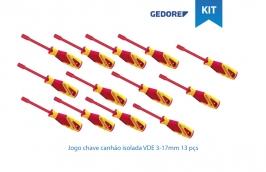 Jogo chave canhão isolada VDE 2133  3-17 mm com 13 peças - Gedore