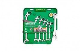 Jogo de Chaves Combinadas com Catraca Articuladas de 10 a 19 mm com 7 Peças 14636BJ - Belzer