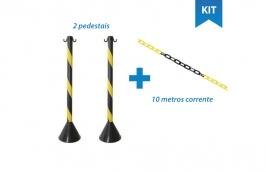Kit 2 pedestais plástico 90 cm + 10 metros corrente plástica - Plastcor