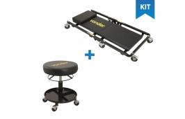 Kit banqueta para mecânico + Carro esteira para oficina mecânica - VONDER