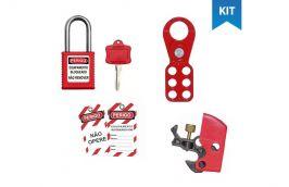 Kit Bloqueio com Garra, Cadeado, Dispositivo para Disjuntor e Etiqueta