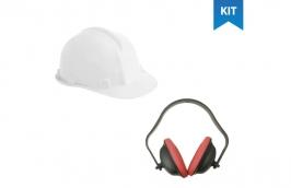 Kit capacete com carneira branco + protetor auditivo abafador