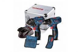 Kit com Furadeira + Chave de Impacto de 1/4 + Serra Sabre Mini Bateria 12V Bosch