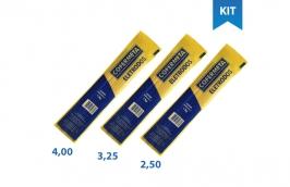 Kit eletrodo 6013 350mm AWS A5.1 bitolas 4,00 + 3,25 + 2,5 mm 1kg cada -  Cofermeta