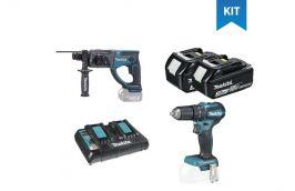Kit Furadeira/Parafusadeira 18V DHP483Z + Martelete 18V DHR202Z + 2 Baterias + Carregador - Makita