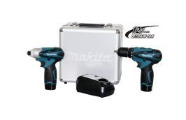 Kit Furadeira Parafusadeira e Parafusadeira de Impacto LCT204 12V com Carregador BIVOLT - Makita