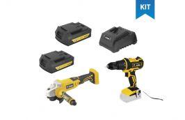 Kit Furadeira Parafusadeira IPFV-1819I e Esmerilhadeira IEV-1808 + Carregador + 2 baterias - Vonder