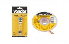Kit Malha dessoldadora 2,0mm x 1,5m + Estanho 1mm tubo 25g - Vonder