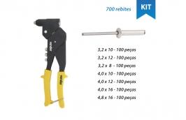 Kit Rebitador com cabeça giratória +  Rebites de alumínio tamanhos variados - VONDER