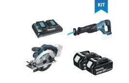 Kit Serra Circular 18V DSS610Z + Serra Sabre 18V DJR186Z + 2 Baterias + Carregador - Makita