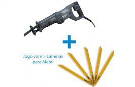 Kit Serra Sabre 1010w 110v Makita SSP + Jogo com 5 Lâminas para Metal - Dewalt