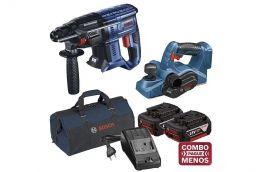 Martelo Perfurador Rompedor 18V GBH 180-LI + Plaina 18V GHO 18V-LI + kit baterias e bolsa - Bosch
