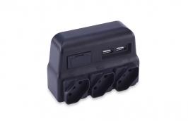 Pino Multiplicador Tripolar Bivolt com 3 Tomadas e 2 Carregadores USB - FORCE