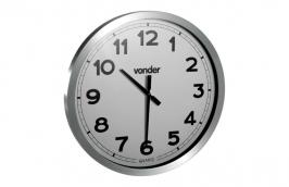 Relógio de Parede 600 mm Fundo Branco sem Pilha - VONDER
