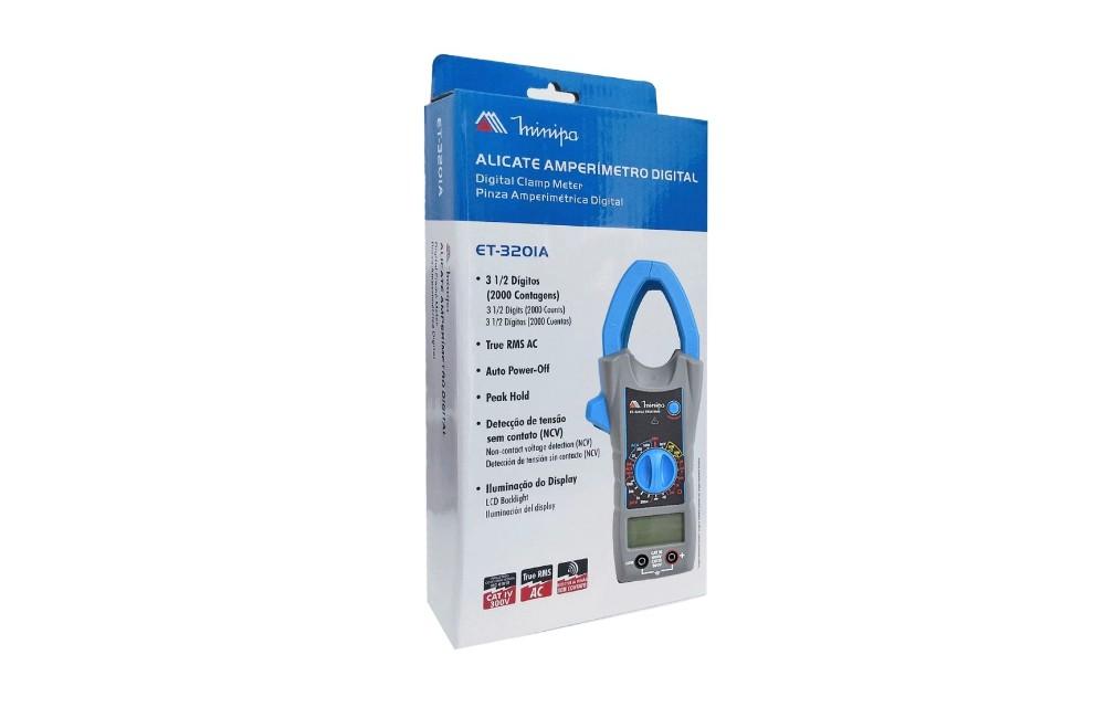 Alicate Amperimetro Digital 1000A AC True RMS NCV ET-3201A - MINIPA