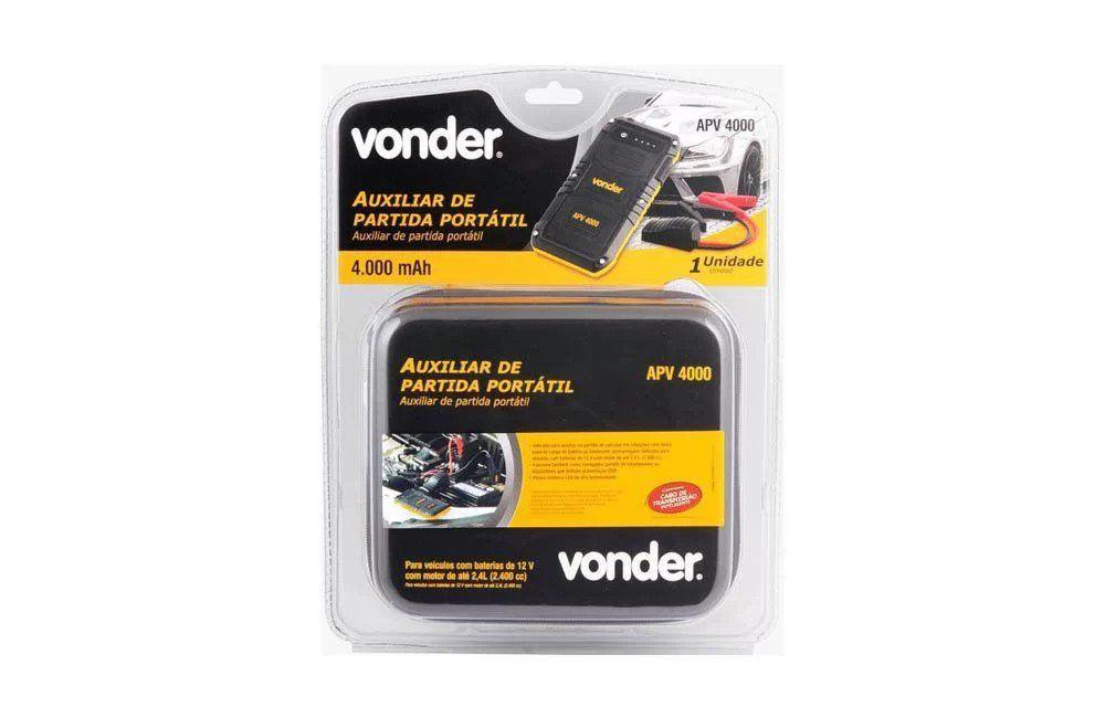 Auxiliar de Partida Portátil 12V com Saída USB APV-4000 - Vonder