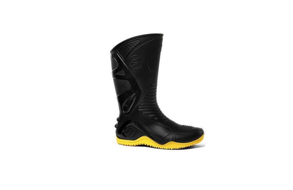 Bota de PVC Preta com Solado Amarelo Cano Longo com Forro N37 Motosafe 84BPM600 - Fujiwara