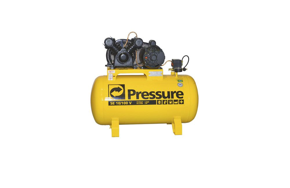 cafe56418 Compressor de Ar 2CV 10 Pés 100 Litros 110 220V Monofásico Pressure SE10 100