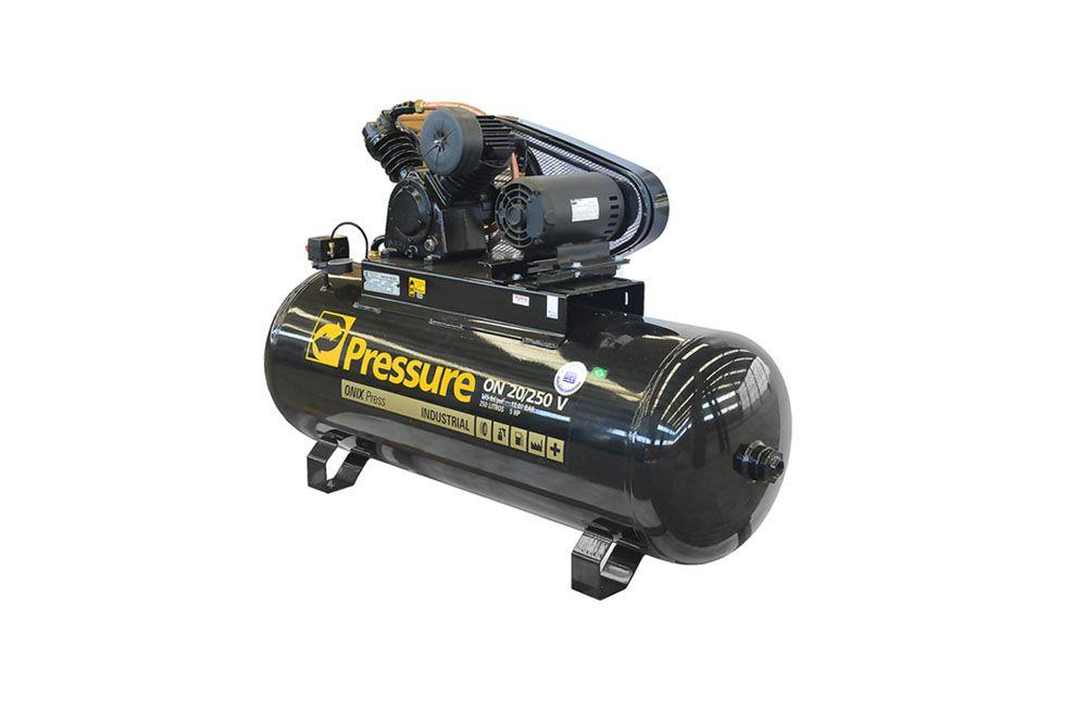 Compressor de ar Onix 20 pés 250 Litros 175 libras 5hp Trifásico - Pressure