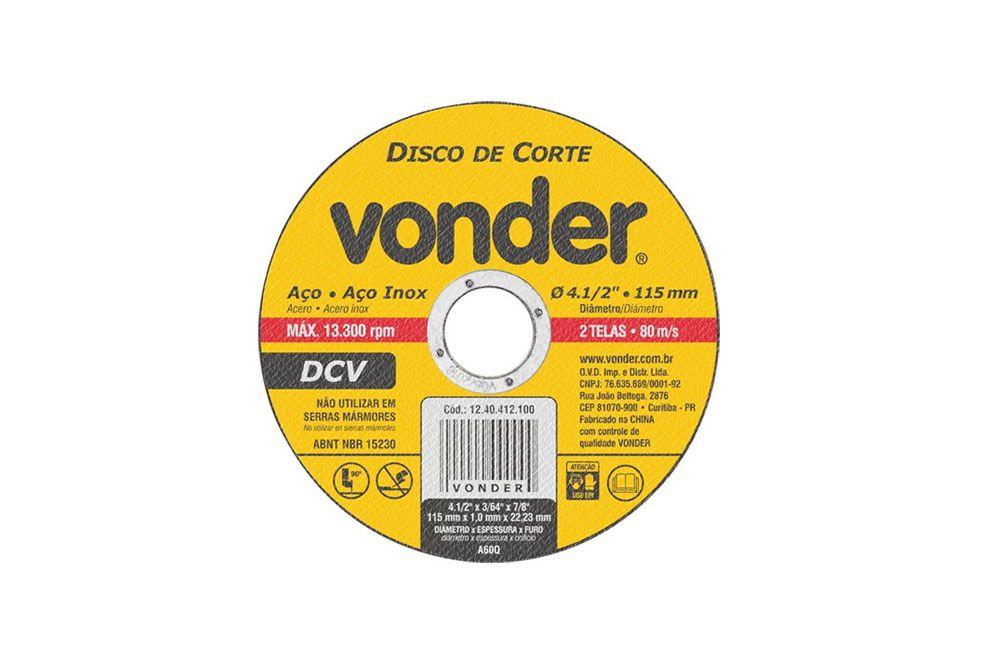 Disco de Corte 115,0 mm x 1,0 mm x 22,23 mm - Vonder