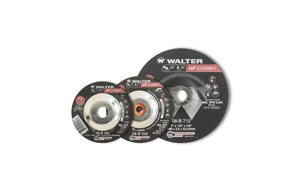 """Disco de Corte e Desbaste de Alto Rendimento 4.1/2 x 1/8 x 7/8"""" 08B462 - Walter"""