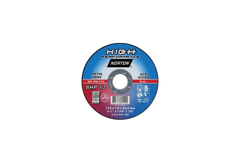 "Disco de Corte para Ferro de 4.1/2"" x 3/64 x 7/8"" / 115 x 1,2 x 22 High Performance BHP12 - Norton"