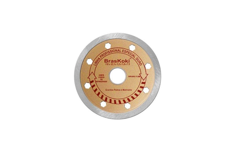 Disco Diamantado Liso 110 mm Ouro para Granito e Mármores - Braskoki