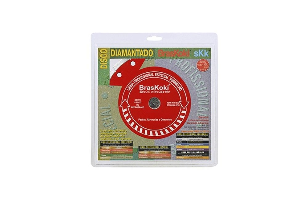 """Disco Diamantado Segmentado 9"""" Vermelho - BRASKOKI"""