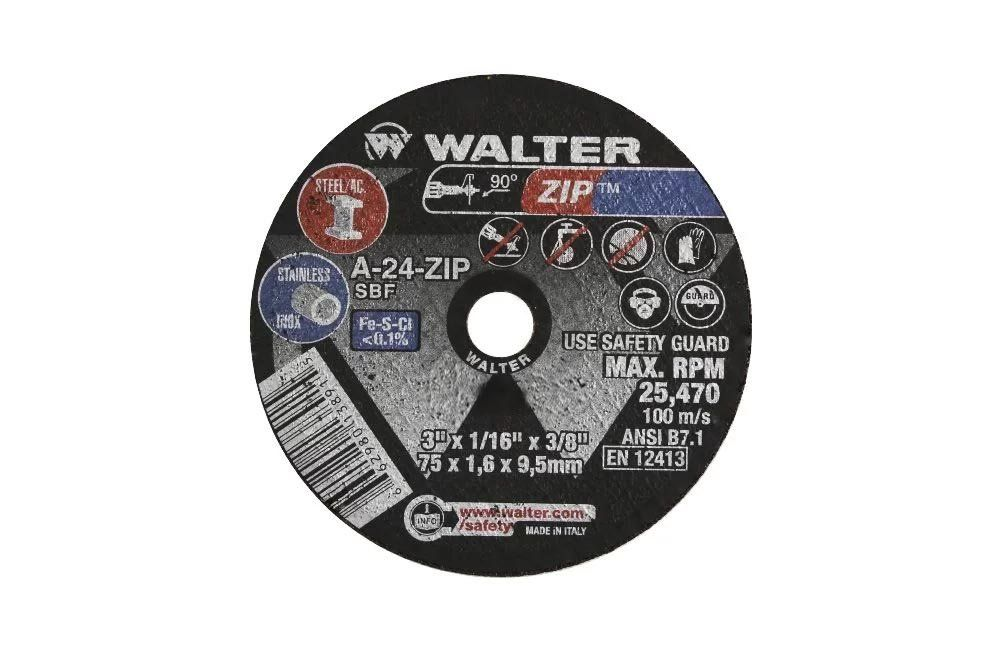 """Disco para Corte de Ferro 3"""" x 0,8 mm furo de 3/8"""" 11L303 - Walter"""