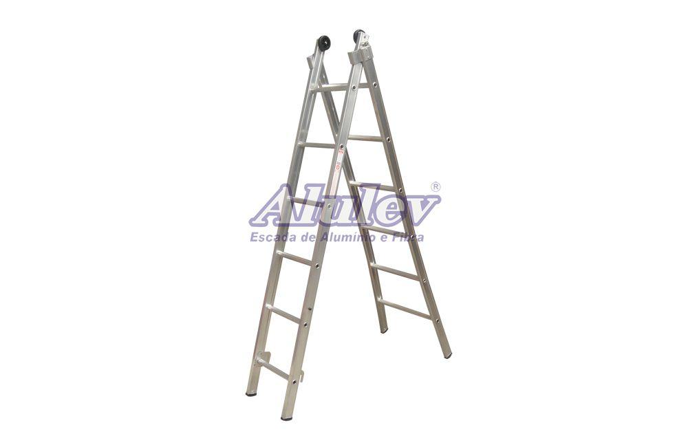 Escada de Alumínio Dupla Extensível 2 x 6 Degraus ED-106 - Alulev