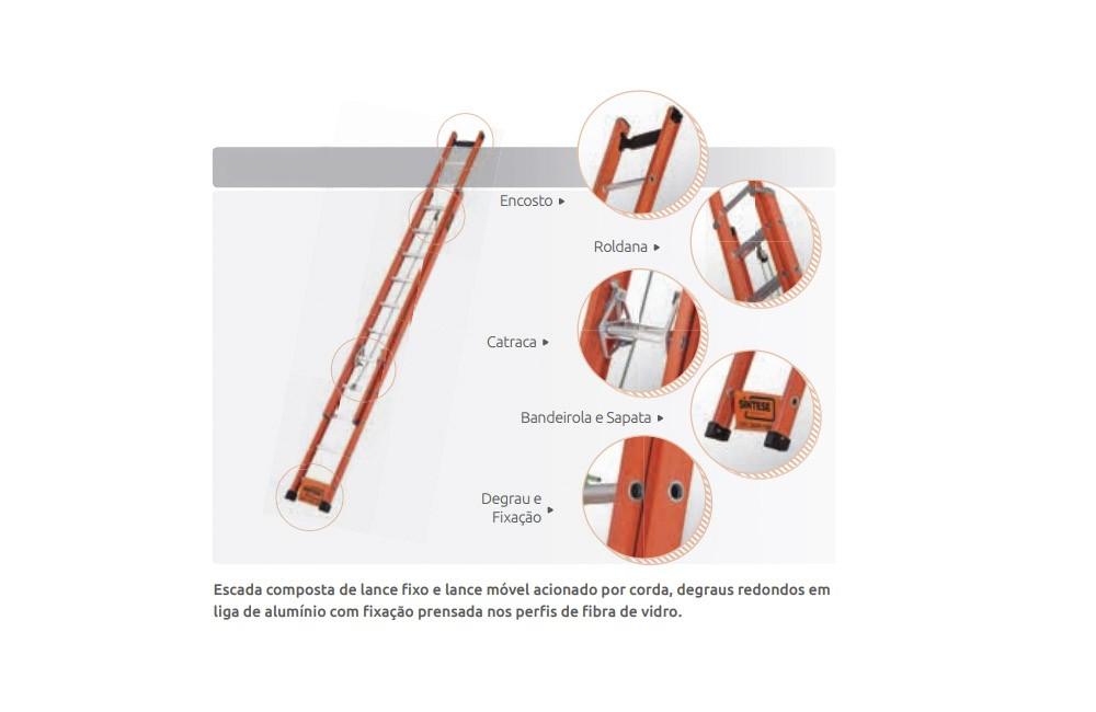Escada de Alumínio/Fibra Extensiva com Degrau Vazado de 5,10 x 8,70 EAFV-28 - Sintese